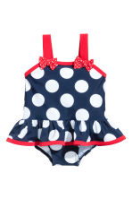 荷葉邊連身泳裝 - Dark blue/Spotted - Kids | H&M 1