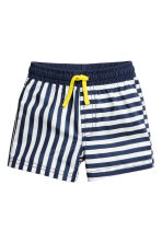 Patterned swim shorts - Dark blue/Striped -  | H&M 1