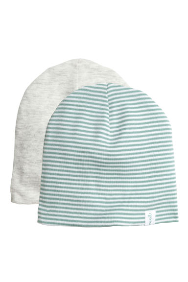 Cuffiette in jersey, 2 pz - Verde menta/righe -  | H&M IT 1