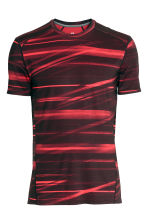Short-sleeved sports top - Burgundy/Patterned - Men | H&M 2