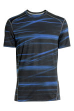 Short-sleeved sports top - Dark blue/Patterned - Men | H&M 2
