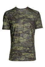 Short-sleeved sports top - Neon green/Patterned - Men | H&M CN 2