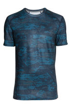 Short-sleeved sports top - Blue/Patterned - Men | H&M 2
