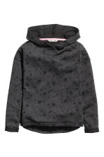 Marled hooded top - Nearly black/Stars -  | H&M 2