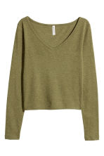 V-neck jersey top - Olive green - Ladies | H&M CN 2