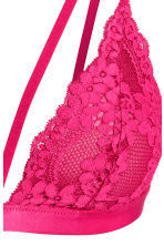 Non-wired lace bra - Raspberry pink - Ladies | H&M CN 3