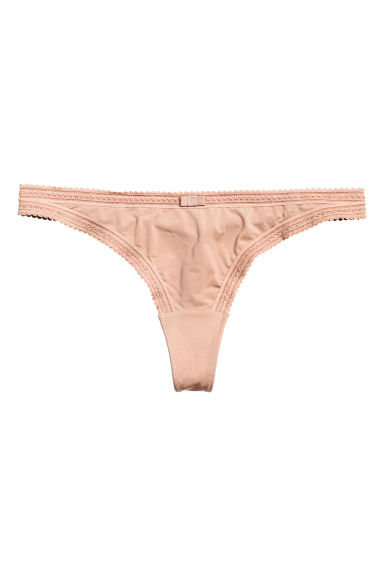 Microfibre thong briefs - 太妃糖色 - 女士 | H&M CN 1
