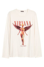 Long-sleeved T-shirt - Natural white/Nirvana - Men | H&M CN 2