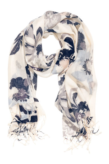 Woven scarf - White/Blue/Floral - Ladies | H&M CN 1