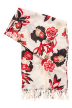 Woven scarf - White/Red floral - Ladies | H&M CN 2