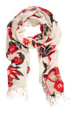 Woven scarf - White/Red floral - Ladies | H&M CN 1