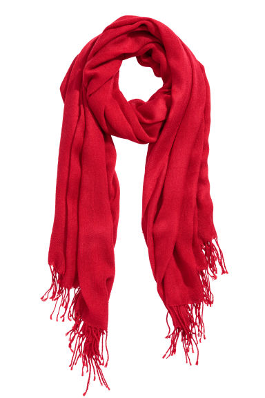 Fine-knit scarf - Red - Ladies | H&M CN 1