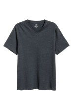Nepped V-neck T-shirt - Dark blue marl -  | H&M 2
