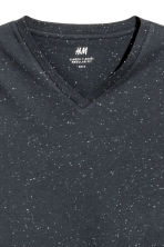Nepped V-neck T-shirt - Dark blue marl -  | H&M 3