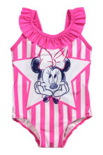 Swimsuit with a frill - Cerise/Minnie Mouse - Kids | H&M 1