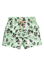 Patterned swim shorts - Mint green/Mickey Mouse - Kids | H&M CN 1