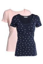 MAMA 2-pack nursing tops - Dark blue/Heart - Ladies | H&M CN 2