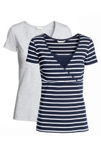 MAMA 2-pack nursing tops - Dark blue/Striped - Ladies | H&M CN 2