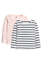 2-pack long-sleeved tops - Light pink -  | H&M 2