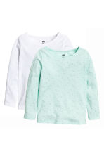 2-pack long-sleeved tops - Mint green/Heart - Kids | H&M 2