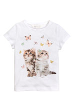 Printed top - White/Cats -  | H&M CN 2