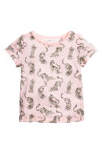 Printed top - Light pink/Leopard print - Kids | H&M 1