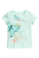 Printed top - Mint/Butterflies -  | H&M CN 2