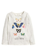 Long-sleeved top - Light beige/Butterflies - Kids | H&M CN 2