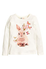 Long-sleeved top - White/Rabbit - Kids | H&M 2