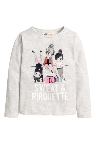 Long-sleeved top - Light grey marl - Kids | H&M CN