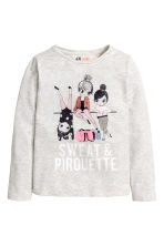 Long-sleeved top - Light grey marl - Kids | H&M CN 1