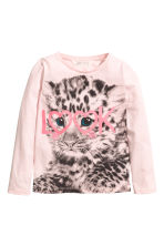 Long-sleeved top - Light pink/Leopard print -  | H&M 2