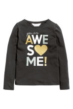 Long-sleeved top - Black - Kids | H&M 2