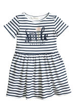 Sweatshirt dress - White/Dark blue/Striped -  | H&M 2