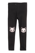 Printed leggings - Black/Cats -  | H&M 2