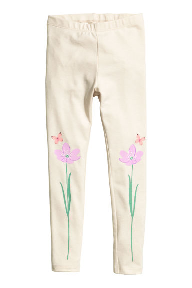 Printed leggings - Light beige - Kids | H&M 1