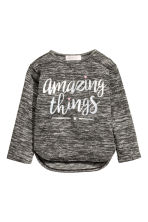 Jumper with a print motif - Black marl - Kids | H&M CN 2