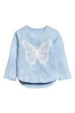 Jumper with a print motif - Light blue/Butterfly - Kids | H&M CN 2
