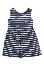 Patterned cotton dress - Dark blue/Striped -  | H&M 2