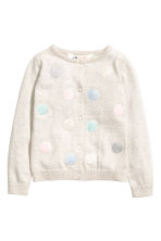 Fine-knit cardigan - Light beige/Spotted -  | H&M CN 2