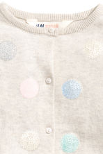 Fine-knit cardigan - Light beige/Spotted -  | H&M CN 3