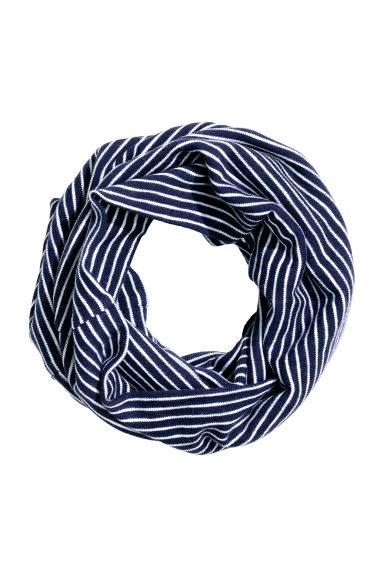 Jersey tube scarf - Dark blue/Striped -  | H&M