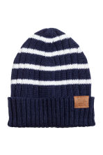 Rib-knit cotton hat - Dark blue/Striped - Kids | H&M 1
