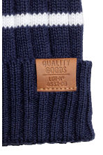 Rib-knit cotton hat - Dark blue/Striped - Kids | H&M 2