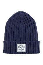 Rib-knit cotton hat - Dark blue - Kids | H&M 1