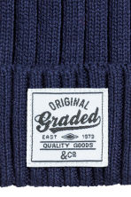 Rib-knit cotton hat - Dark blue - Kids | H&M 2