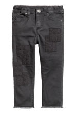 Trousers with patches - Nearly black -  | H&M CN 2