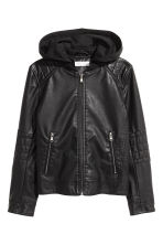 Hooded biker jacket - Black -  | H&M 2