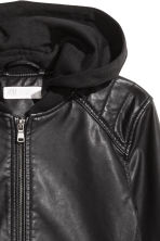 Hooded biker jacket - Black -  | H&M 3