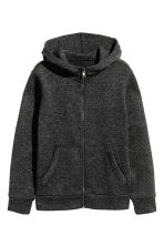 Knitted fleece jacket - Dark grey marl - Kids | H&M 2
